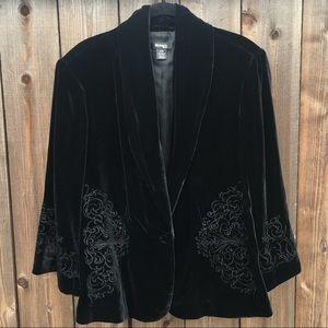 Style&co Velvet Embroidered Black Blazer 16